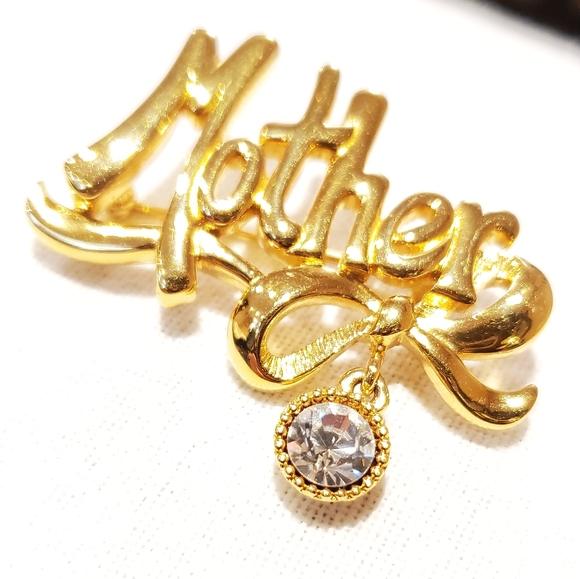 Vintage Monet Gold Tone Mother Brooch
